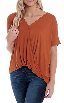 Double Zero Women's Rust Orange V-Neck Surplus Fashion Top