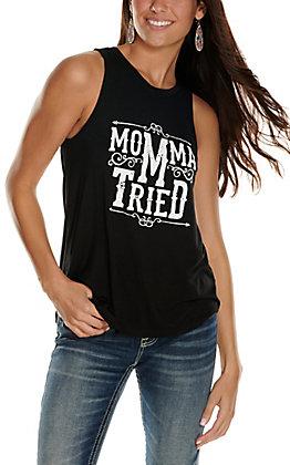 Double Zero Women's Black with White Momma Tried Sleeveless Tank Top
