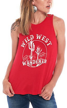 Double Zero Women's Red Wild West Wanderer Graphic Tank