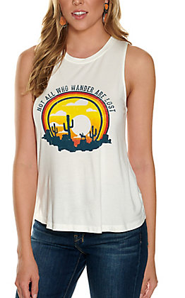 Double Zero Women's White Not All Who Wander Are Lost Graphic Tank Top