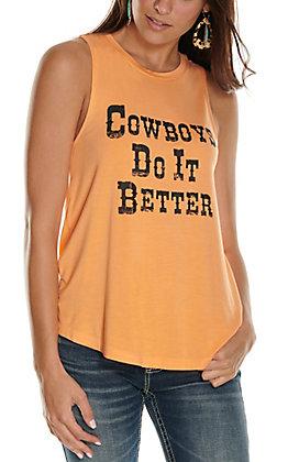 Double Zero Women's Orange with Black Cowboys Do It Better Sleeveless Tank Top