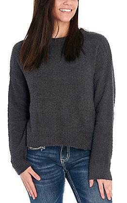 Double Zero Women's Charcoal Grey Sherpa Long Sleeve Sweater