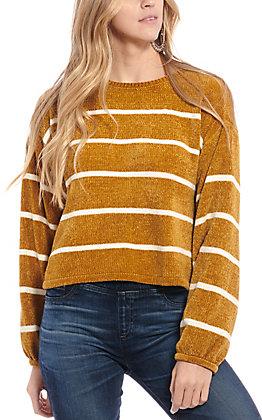 Double Zero Women's Mustard Striped Long Sleeve Sweater
