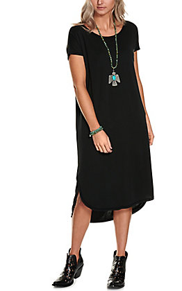 Double Zero Women's Black Solid Short Sleeve Midi Dress