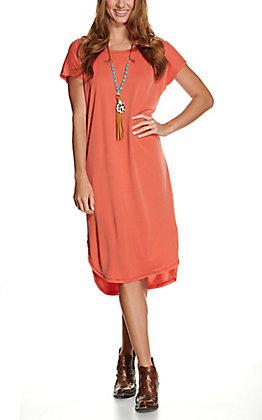 Double Zero Women's Chili Orange Hi-Lo Short Sleeve Midi Dress