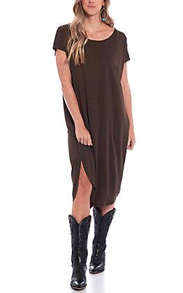 Double Zero Women's Brown Solid Short Sleeve Dress