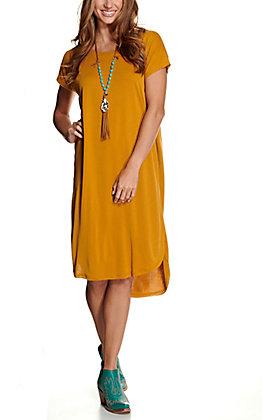 Double Zero Women's Mustard Hi-Lo Short Sleeve Midi Dress
