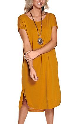 Double Zero Women's Mustard Solid Short Sleeve Midi Dress