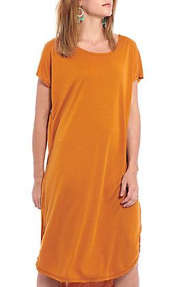 Double Zero Women's Pumpkin Spice Solid Short Sleeve Dress