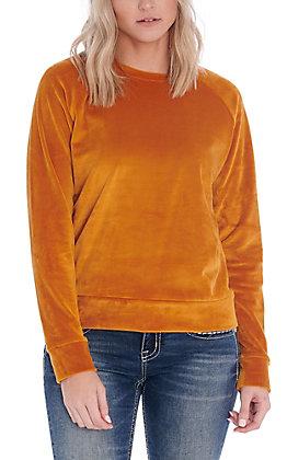 Double Zero Women's Pumpkin Spice Velour Long Sleeve Fashion Top