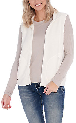 Double Zero Women's White Sherpa Vest
