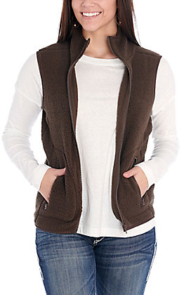 Double Zero Women's Dark Brown Sherpa Vest