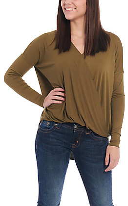 Double Zero Women's Olive Surplus Long Sleeve Fashion Top