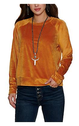 Double Zero Women's Cinnamon Velour Long Sleeve Top