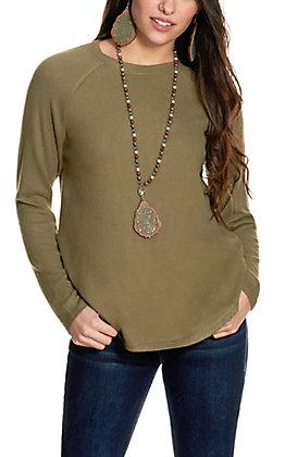 Double Zero Women's Olive Long Sleeve Top