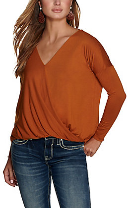 Double Zero Women's Cinnamon Surplice Front Long Sleeve Top