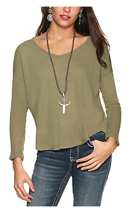Double Zero Women's Olive Green Waffle Knit V-Neck Long Sleeve Top