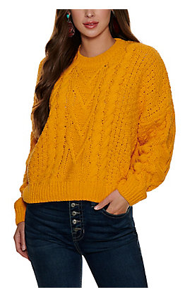 HYFVE Women's Mustard Chunky Cable Knit Long Sleeve Sweater