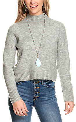Double Zero Women's Heather Grey Mock Turtleneck Sweater