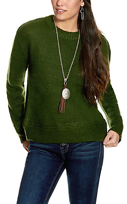 Double Zero Women's Dark Green Mock Turtleneck Sweater