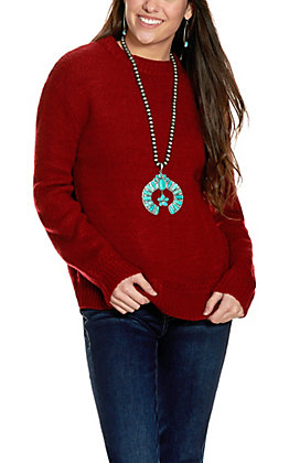 Double Zero Women's Maroon Mock Turtleneck Sweater