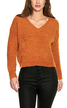 Double Zero Women's Cinnamon Long Sleeve V-Neck Sweater