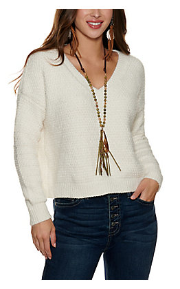 Double Zero Women's Cream Long Sleeve Cropped Sweater