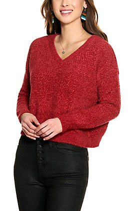 Double Zero Women's Maroon Long Sleeve V-Neck Sweater