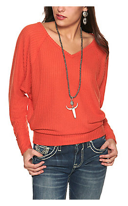 Double Zero Women's Chili Orange Waffle Knit V-Neck Long Dolman Sleeve Top