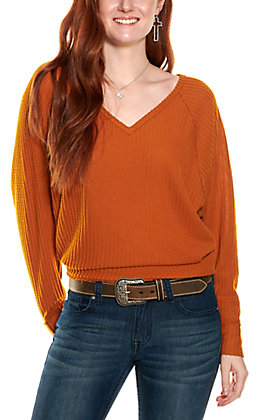 Double Zero Women's Cinnamon Waffle Knit V-Neck Long Dolman Sleeve Top