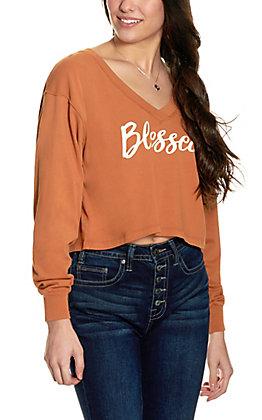 """Double Zero Women's Cinnamon """"Blessed"""" Long Sleeve Crop Top"""