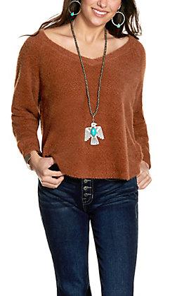 Double Zero Women's Hazelnut V-Neck Chenille Sweater