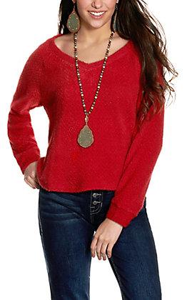 Double Zero Women's Maroon V-Neck Chenille Sweater