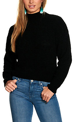 Double Zero Women's Black Chenille Long Sleeve Sweater