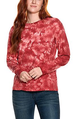 Double Zero Women's Maroon Tie Dye Long Sleeve Shirt