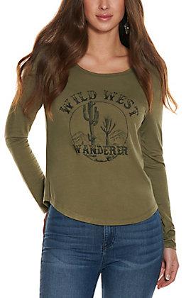 Double Zero Women's Olive Wild West Wonderer Long Sleeve Tee