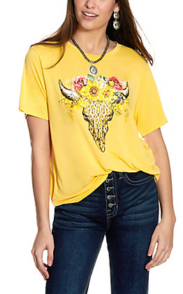 Double Zero Women's Ginger Cow Skull with Flowers Short Sleeve T-Shirt
