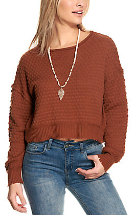 Double Zero Women's Hazelnut Cropped Long Sleeve Sweater