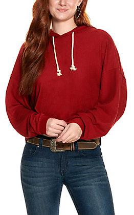 Double Zero Women's Maroon Fleece Long Sleeve Hoodie
