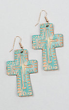Silver Strike Brushed Turquoise Cross Earrings