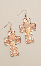 Silver Strike Brushed Ivory Cross Earrings