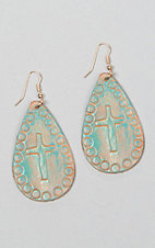 Silver Strike Cross Stamped Brushed Turquoise Teardrop Earrings