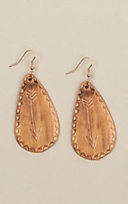 Silver Strike Arrow Stamped Leather Teardrop Earrings