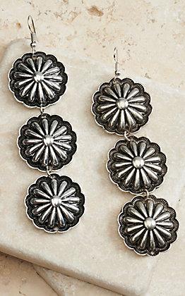 West & Co Antiqued Silver Triple Concho Dangle Earrings