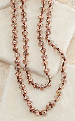 Ashlyn Rose The Essentials Metallic Rose Gold 60 Inch Beaded Necklace