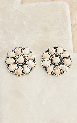 West & Co Silver Flower with Ivory Stones Earrings