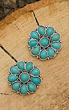 West & Co. Silver with Turquoise Beaded Flower Stud Earrings