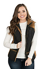 Montana Clothing Company Women's Black with Tan Sleeveless Vest