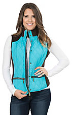 Montana Clothing Company Women's Turquoise with Brown Accents Sleeveless Vest