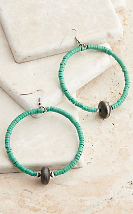 West & Co. Turquoise Bead Hoop Earrings